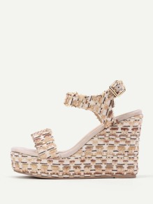 Mixed Pattern Platform Wedge Sandals