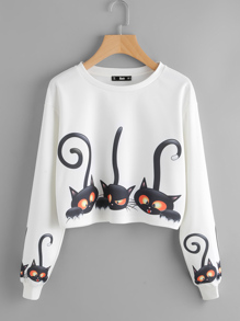 Drop Shoulder Cartoon Cat Print Sweatshirt
