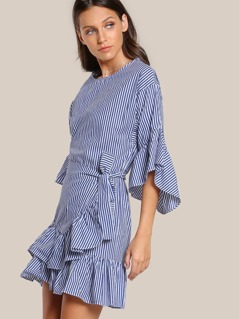 Striped Quarter Sleeve Ruffle Hem Dress NAVY