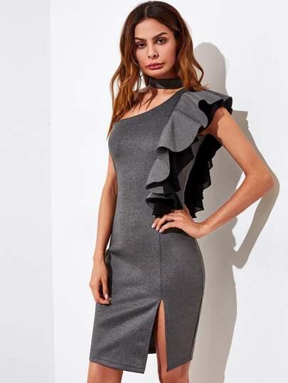 Frill Sleeve One Shoulder Choker Dress