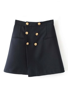 Double Breasted Wrap Skirt