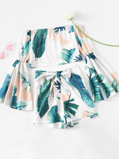 Bardot Flute Sleeve Leaf Print Random Crop Top With Shorts