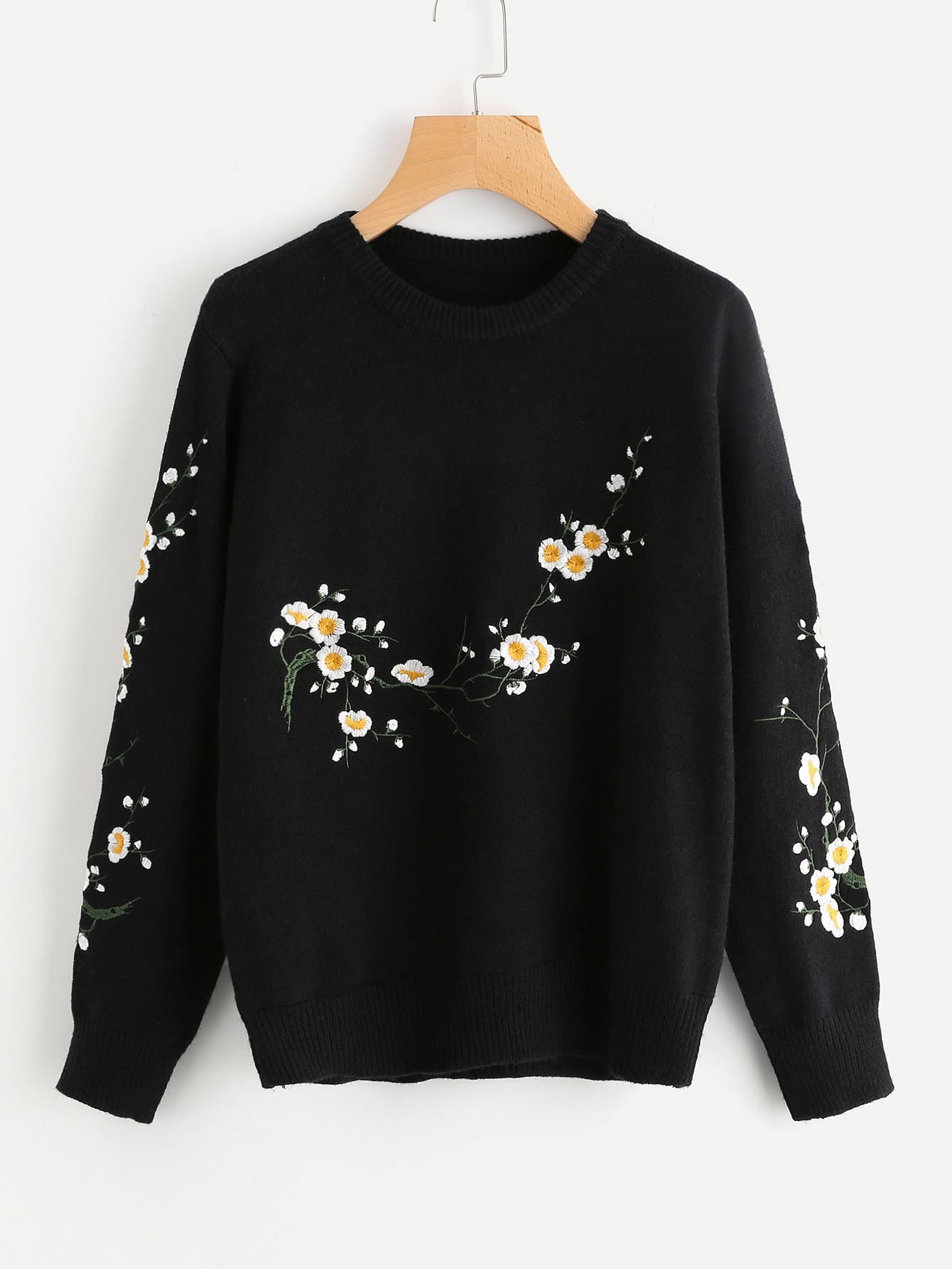 Flower Blossom Embroidered Sweater cartoon embroidered sweater