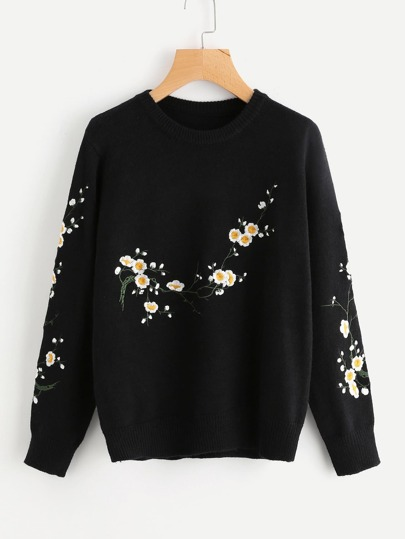 Flower Blossom Embroidered Sweater
