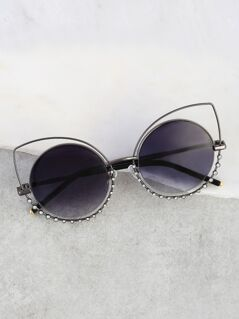 Cat Eye Cut Out Diamond Sunnies BLACK