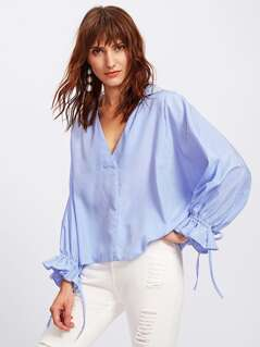 Drawstring Dolman Sleeve Overlap Back Blouse