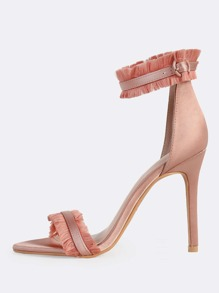 Fringe Ankle Band Open Toe Heels MAUVE
