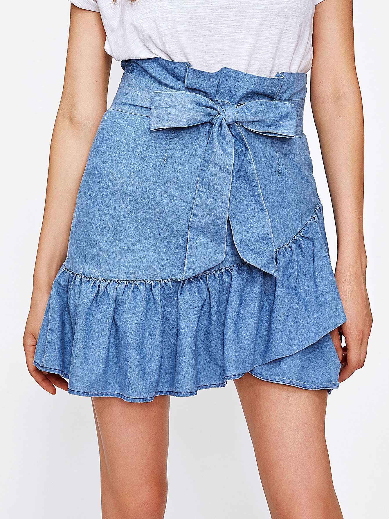 Self Belted Ruffle Hem Overlap Skirt