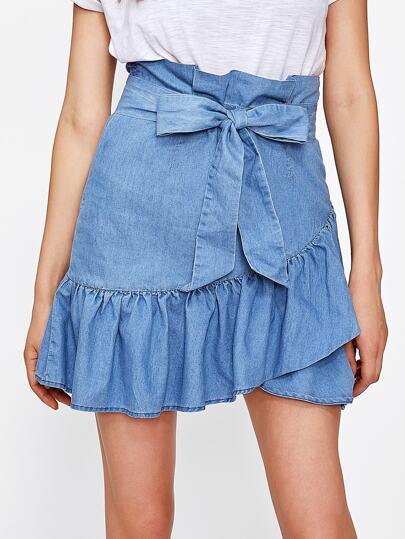 Self Belted Ruffle Hem Overlap Skirt
