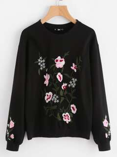 Drop Shoulder Flower Blossom Embroidered Pullover