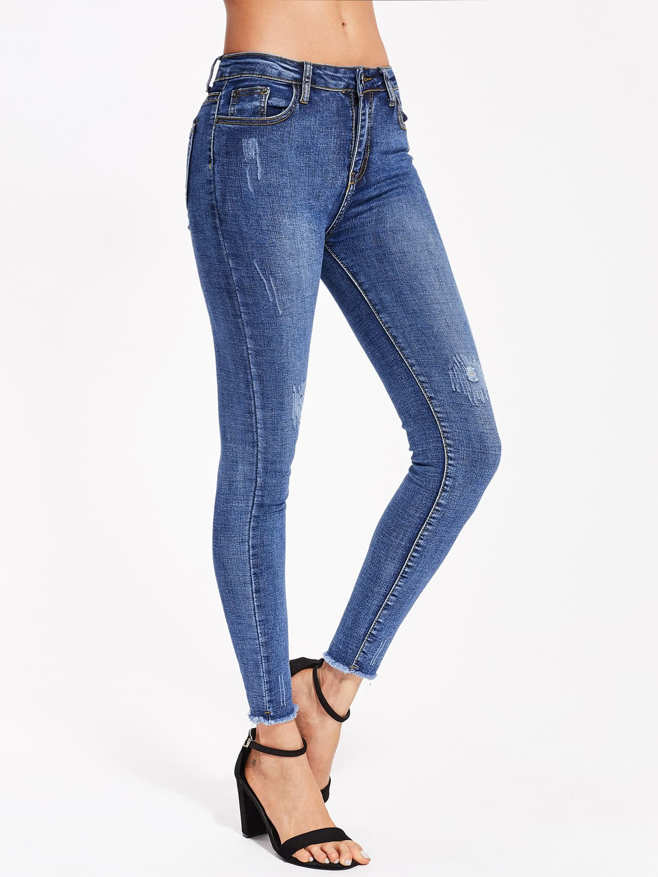 Destroyed Bleach Wash Frayed Hem Jeans destroy wash frayed harem jeans