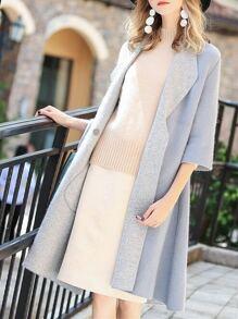 Lapel Sleeve Pockets Coat