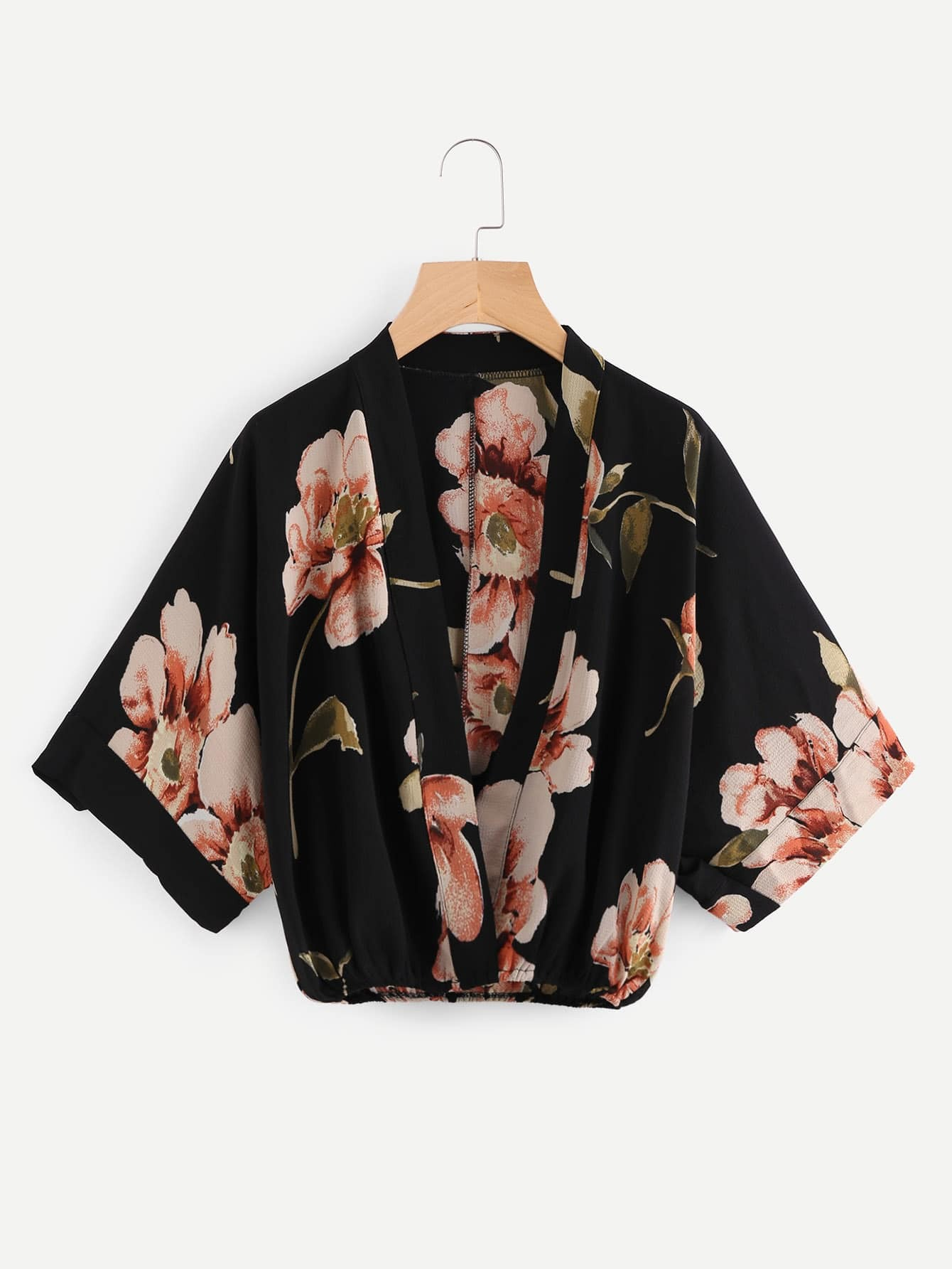 Random Florals Kimono Sleeve Surplice Blouse все цены