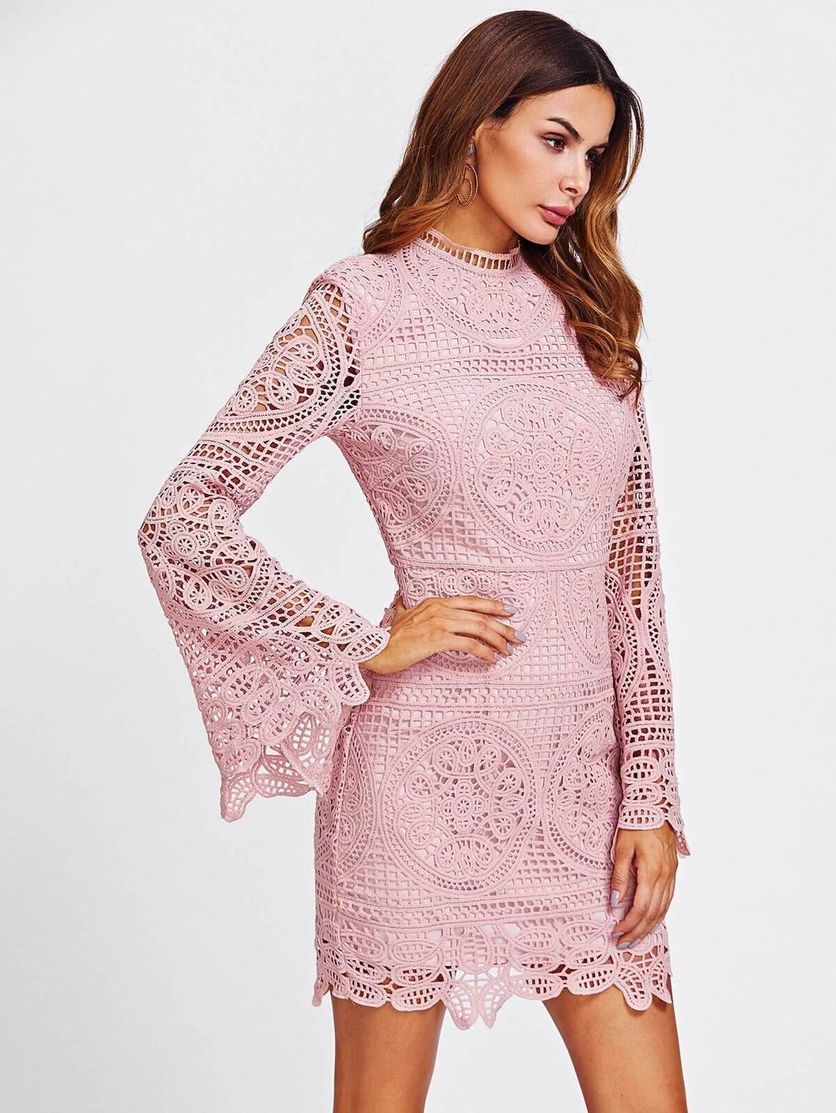 Trumpet Sleeve Geo Crochet Overlay Form Fitting Dress
