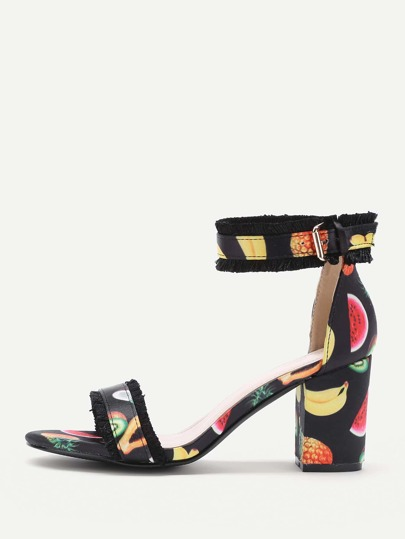 Fringe Trim Fruit Print Heeled Sandals