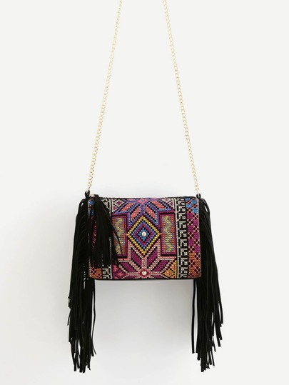 Fringe Decorated Cylindrical Chain Bag