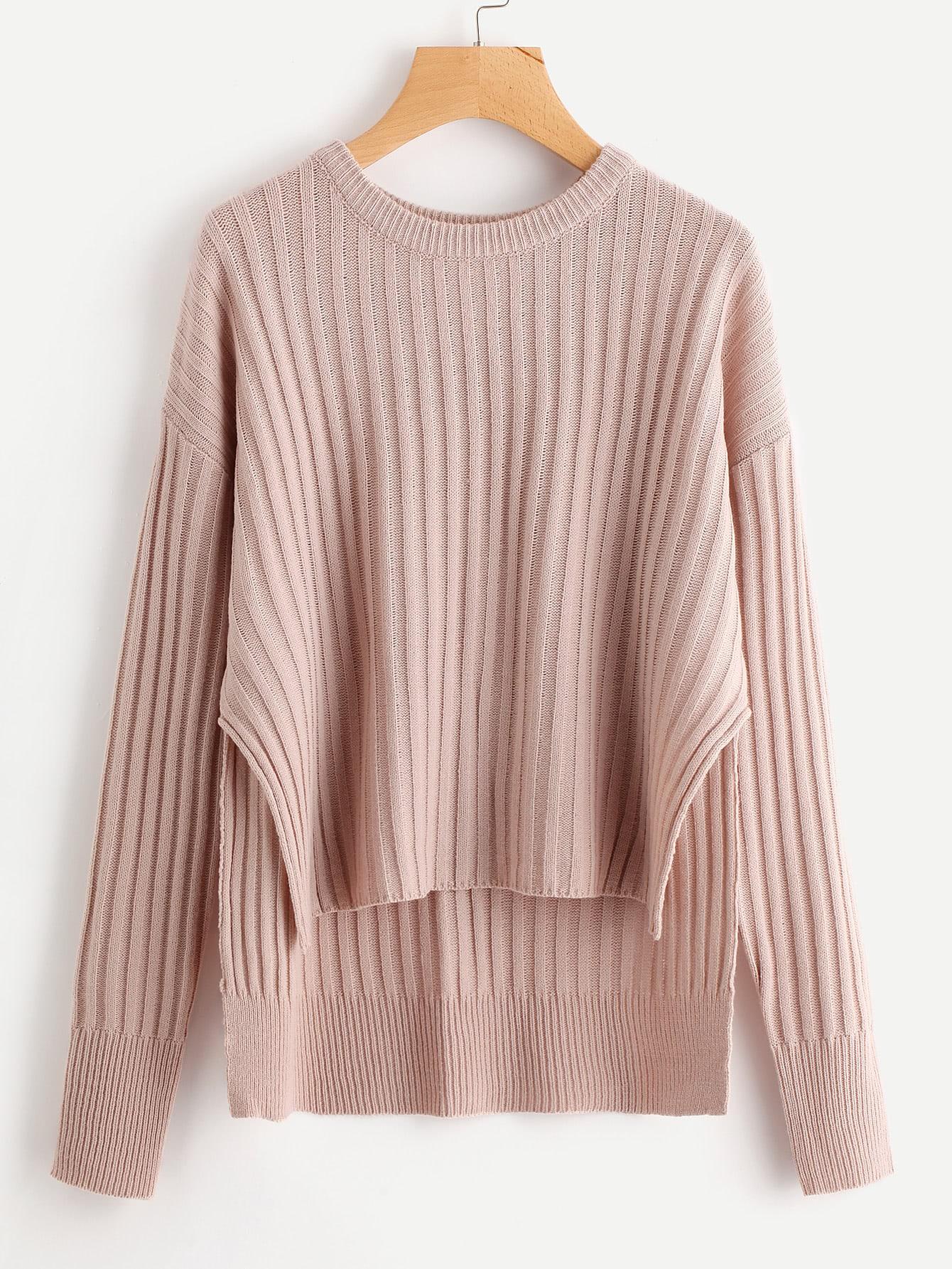 Rib Knit Staggered Hem Sweater sweater170828467