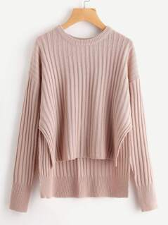 Rib Knit Staggered Hem Sweater