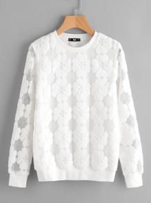 Floral Flock Mesh Sweatshirt