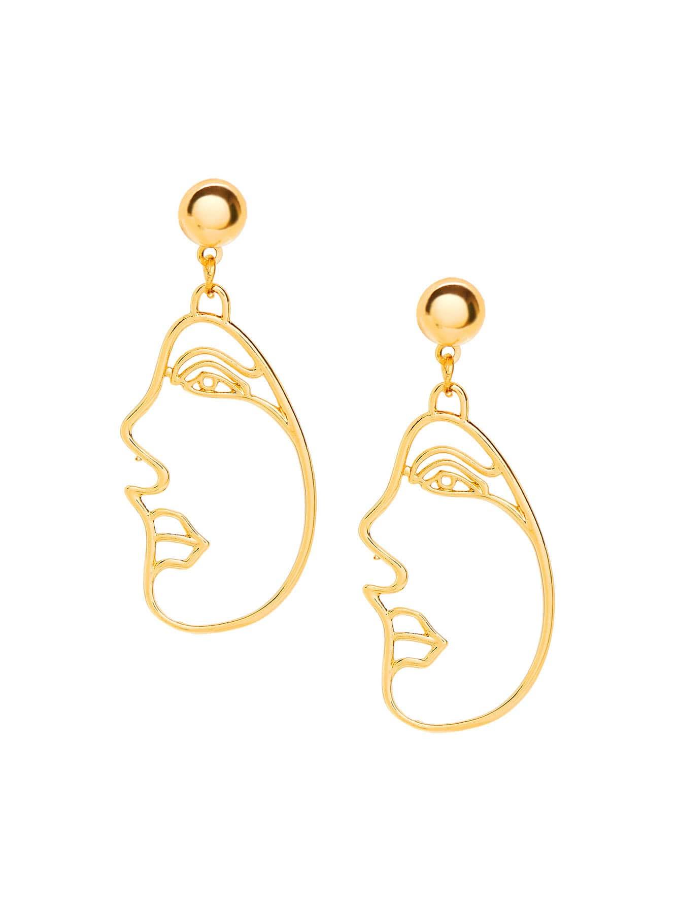 Line Art Earrings : Open face drop earrings shein sheinside
