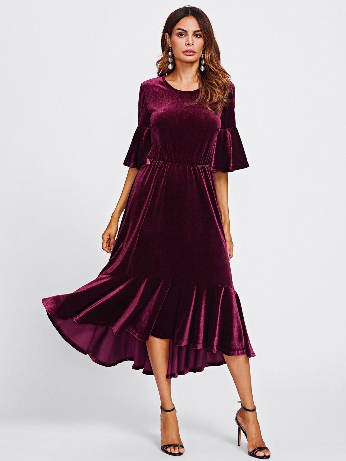 Trumpet Sleeve Flounce Hem Velvet Dress