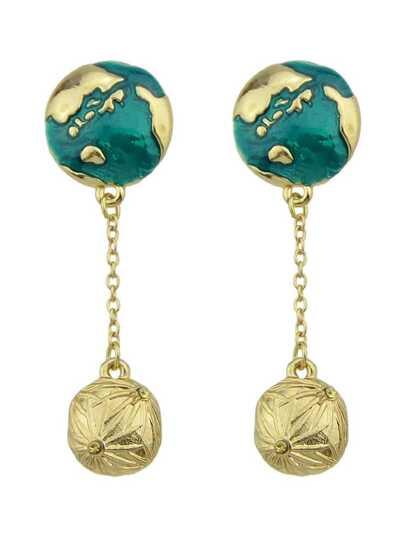 Imitation Globe Gem Pendant Individual Earrings