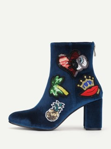 Embroidery & Sequin Patch Decorated Ankle Boots