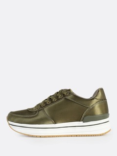 Satin High Sole Sneakers KHAKI