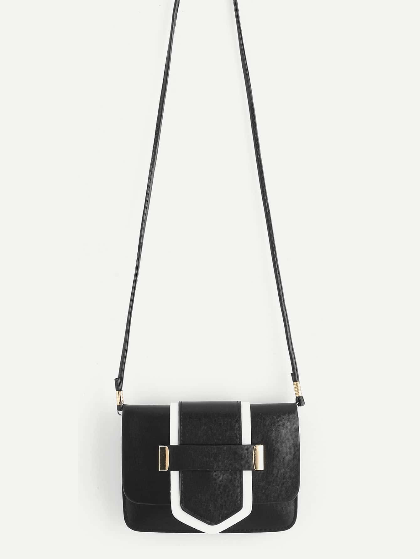 Two Tone PU Flap Cross Body Bag