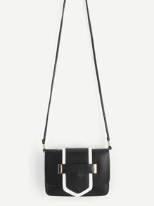 Two Tone PU Flap Cross Body Bag