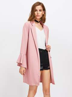 Trumpet Sleeve Notch Collar Duster Coat