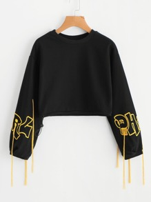 Fringe Detail Embroidered Crop Sweatshirt