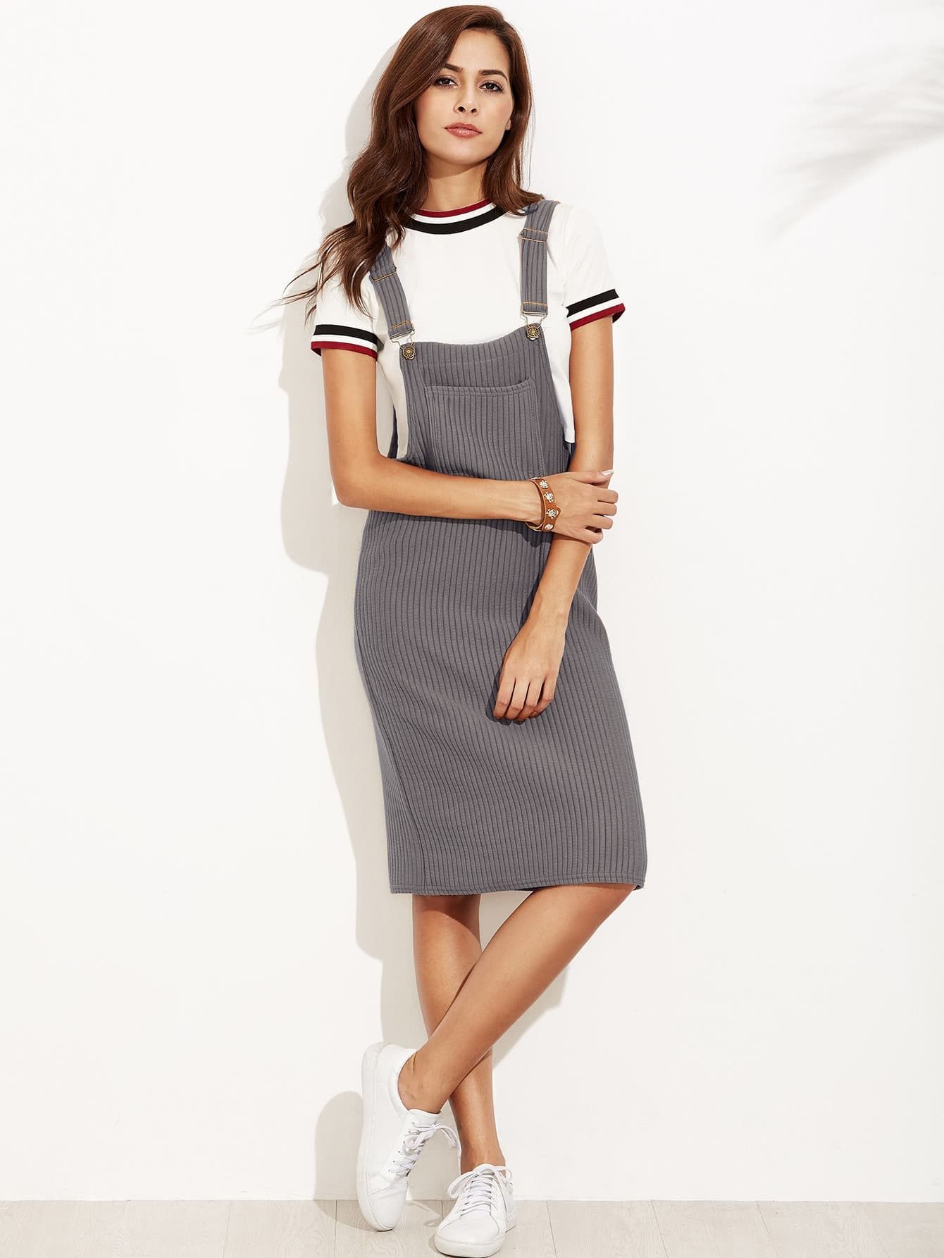 Ribbed Overall Dress With Pockets