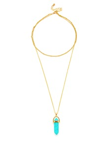 Contrast Turquoise Pendant Chain Necklace
