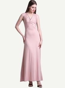 V-neckline Twist Front Full Length Dress