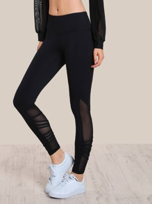 Mesh Cut Out Strappy Athletic Pants BLACK