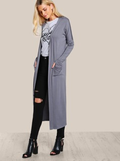 Front Pocket Open Cardigan GREY