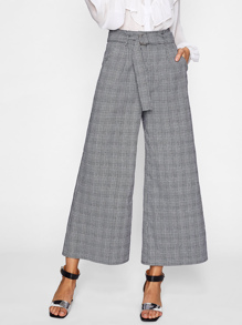 O-Ring Belt Detail Plaid Palazzo Pants