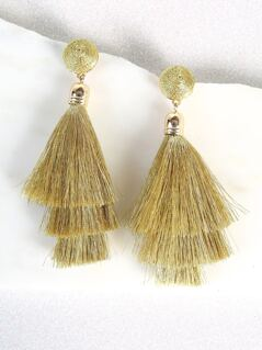 Metallic Hanging Tassel Earrings GOLD