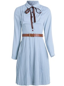 Bowknot Neck Belted Pleated Dress