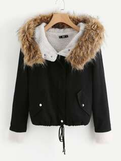 Fleece Lined Jacket With Faux Fur Trim Hood