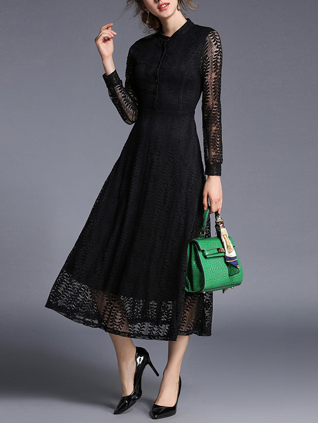 Hollow Out Sheer Lace Shirt Dress lace patchwork hollow out shirt
