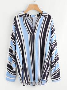 Buttoned Back Mixed Stripe Plunge Blouse