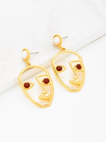 Rhinestone Detail Contrast Open Face Hoop Earrings
