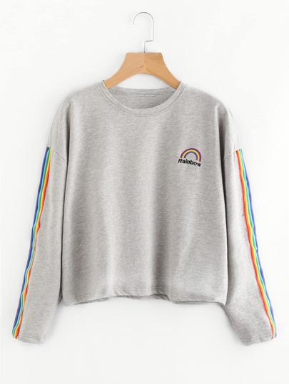 Rainbow Embroidered Striped Sleeve Sweatshirt