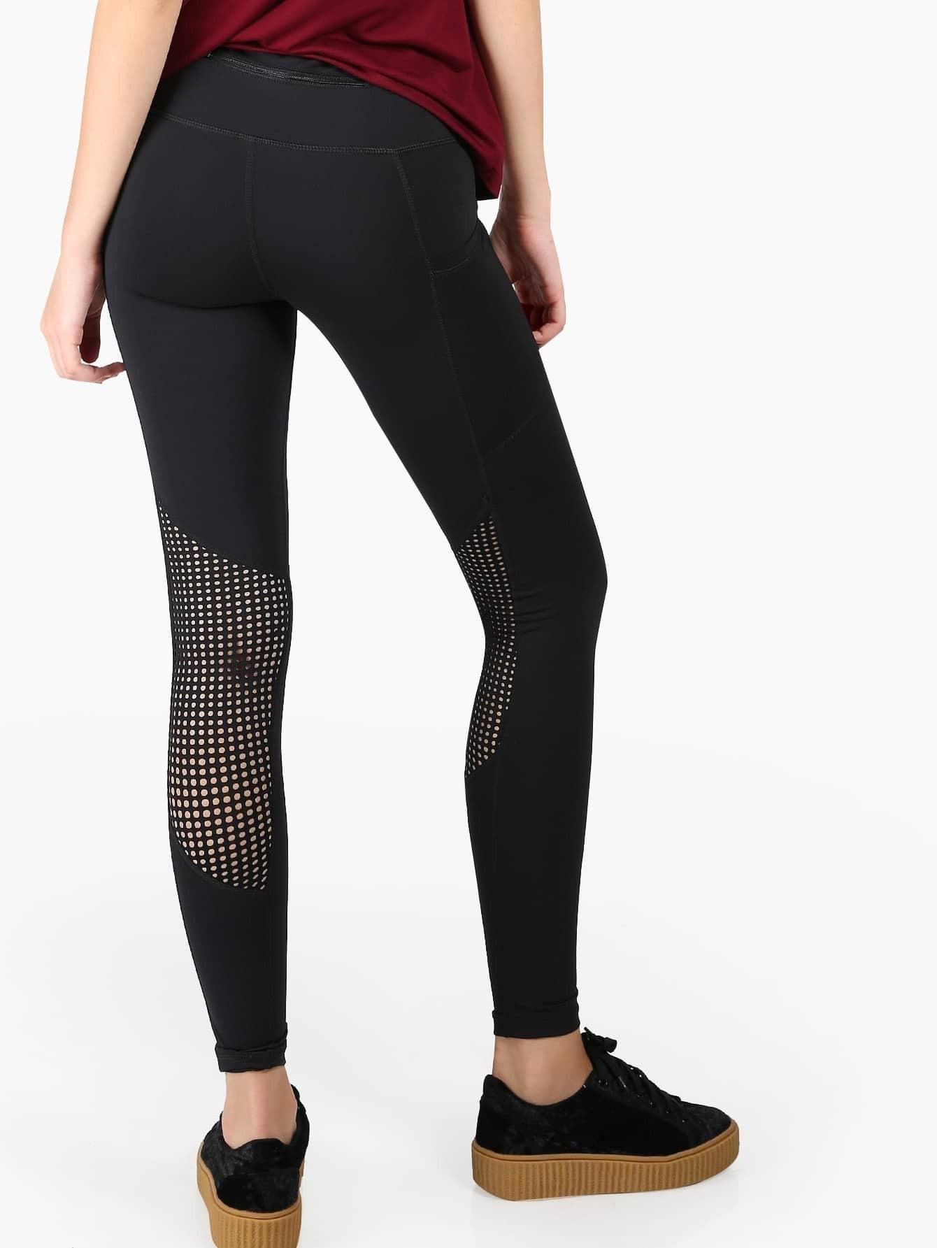 Perforated Mesh Activewear Leggings mmclegging-ap1561-black