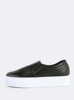 Flatform Slide On Sneakers BLACK