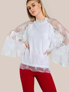 Layered Lace Sleeve Top NUDE