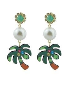 Beach Design Imitation Pearl Tree Shape Big Dangle Earrings