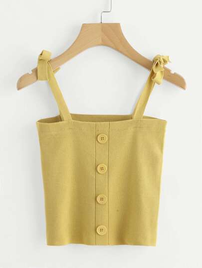 Self Tie Shoulder Knit Cami Top